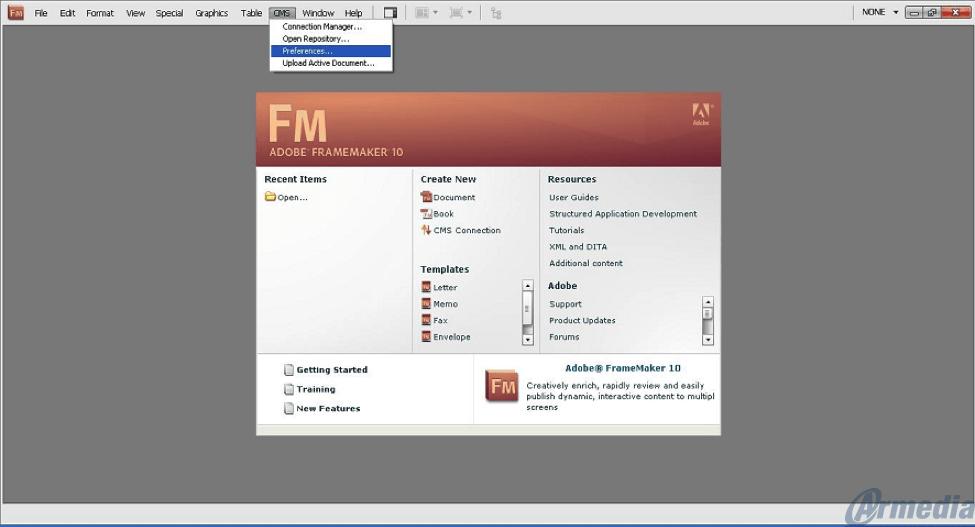 Adobe FrameMaker Choosing CMS Preference