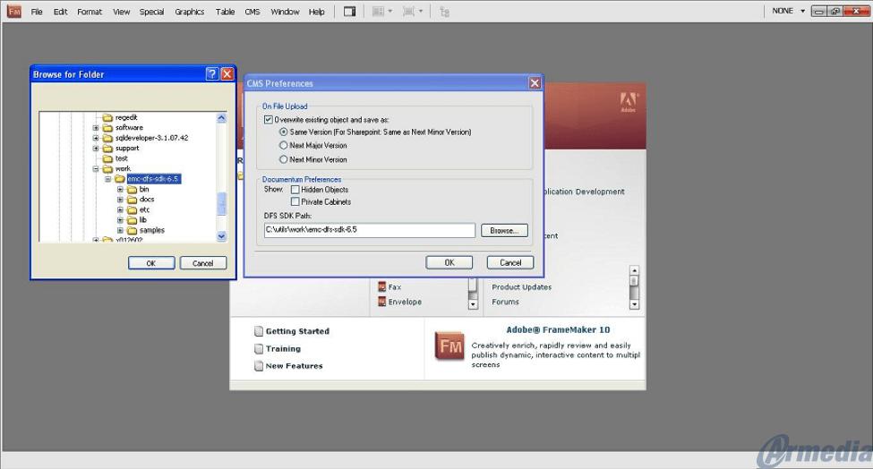 Browse CMS Repository through Adobe FrameMaker