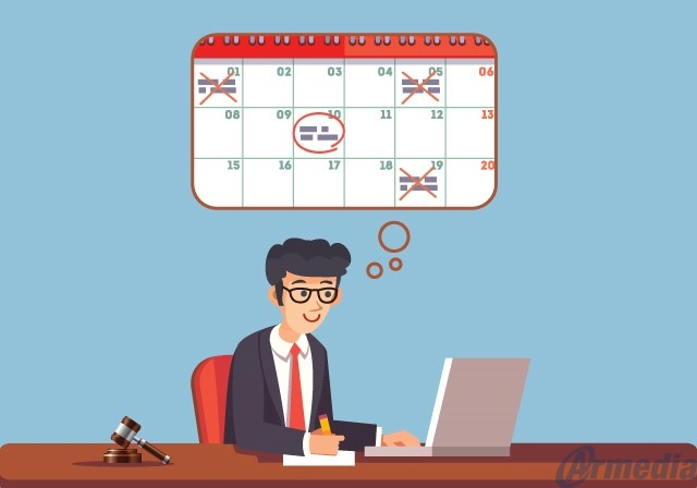 legal case management software captures and manages events on in-application calendars